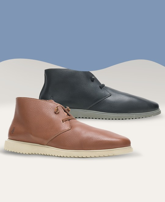 Mens Chukka one black and one brown shoes.