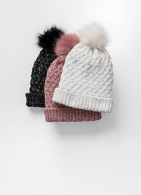 3 Chenille hats; one in pink, one in black, and the other in white.