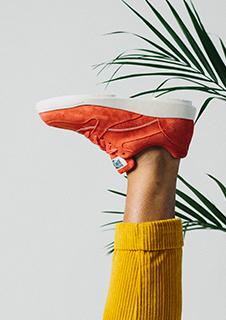 Red walking sneaker