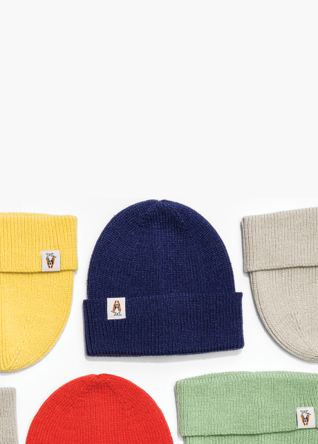5 Beanies - yellow, blue, red, tan and mint green