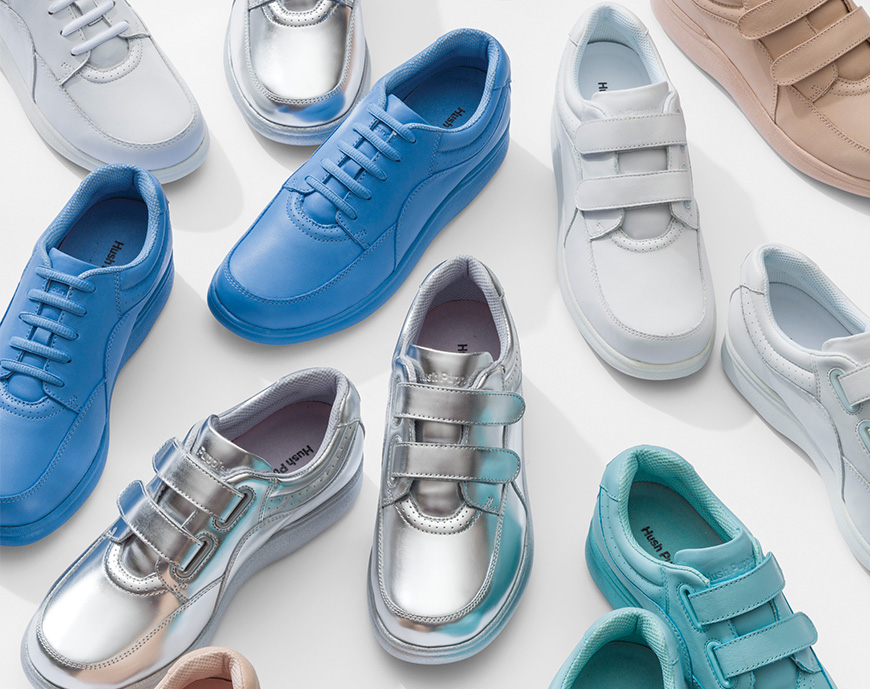 A collection of women's shoes in various colors.