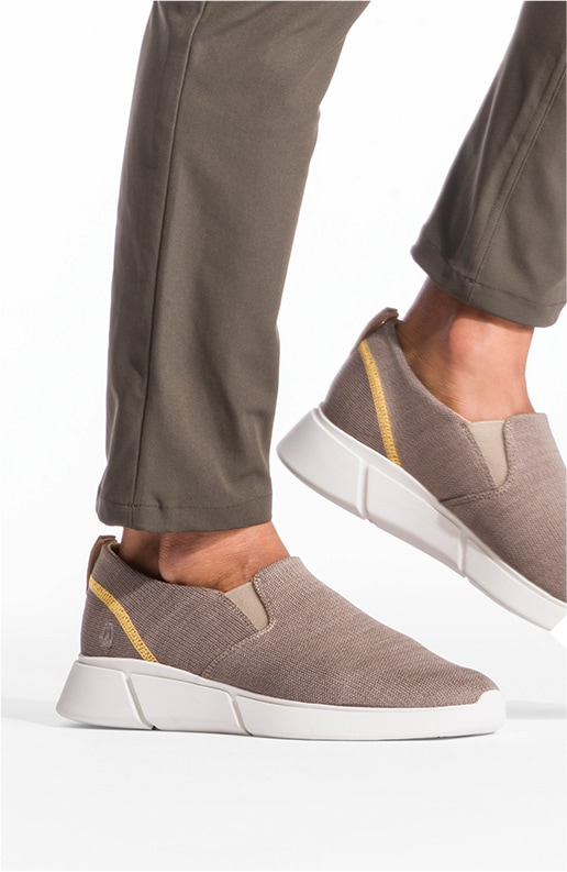 Man wearing brown Hush Puppies Body Shoe Lite shoes