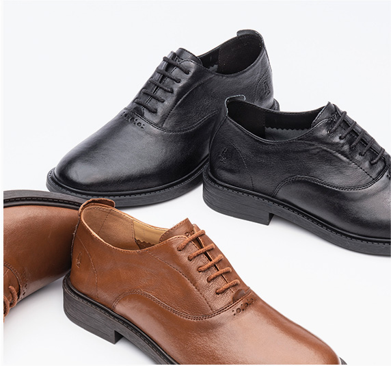 Black and brown shoes.