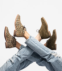 Brown and leopard print Chukka Boots.