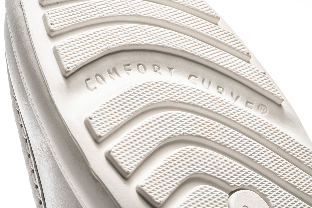 Underside of a shoe sole showing Comfort Curves.