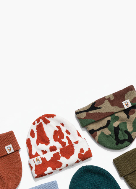 Beanies of many colors and styles.