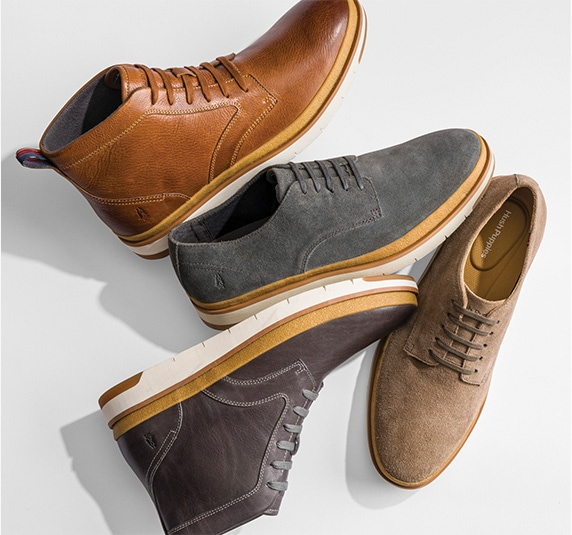 A collection of Hush Puppies Caleb shoes and boots