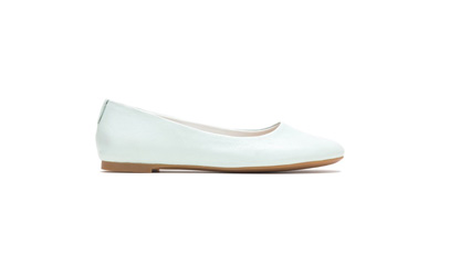 Pale blue leather balet shoes.