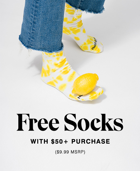 Free Socks with purchase of $50 or more.