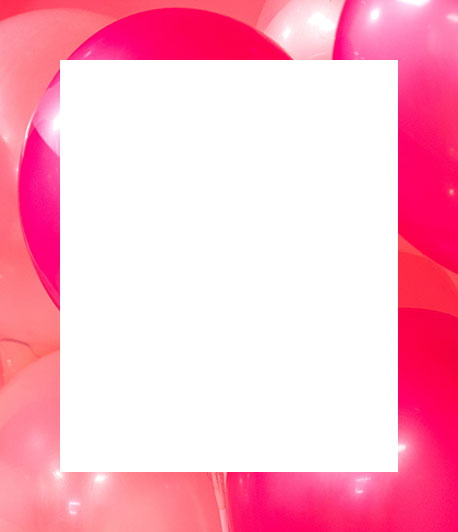 Red and pink ballons background border.