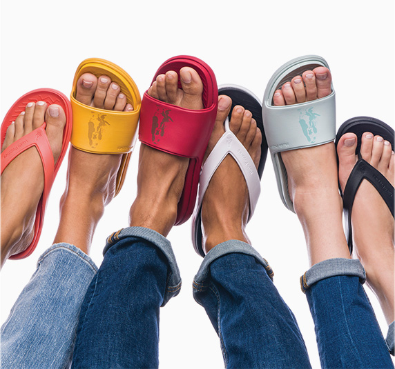 Colorful bouncer flip flops.