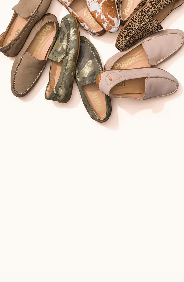 Collection of Hush Puppies loafer shoes.